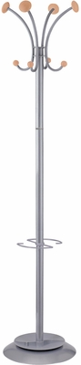 Classical ALBA Silver & Gray Floor Coat Stand with 4 Double Pegs