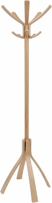 Classical Stylish ALBA Wooden Floor Coat Stand Light Brown