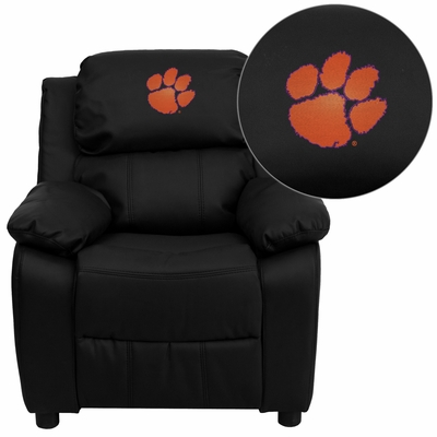 Clemson University Tigers Black Leather Kids Recliner - BT-7985-KID-BK-LEA-40006-EMB-GG
