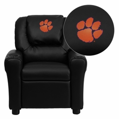 Clemson University Tigers Black Vinyl Kids Recliner - DG-ULT-KID-BK-40006-EMB-GG