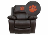 Clemson University Tigers Leather Rocker Recliner - MEN-DA3439-91-BRN-40006-EMB-GG