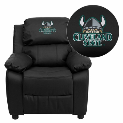 Cleveland State University Vikings Embroidered Black Leather Kids Recliner - BT-7985-KID-BK-LEA-41021-EMB-GG