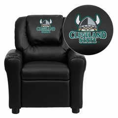 Cleveland State University Vikings Embroidered Black Vinyl Kids Recliner - DG-ULT-KID-BK-41021-EMB-GG