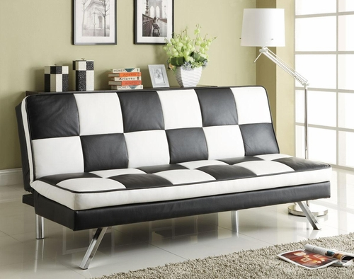 Click Clack Retro Faux Leather Checked Sofa Bed - 300225