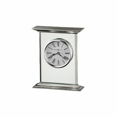 Clifton Table Clock in Brushed Aluminum - Howard Miller
