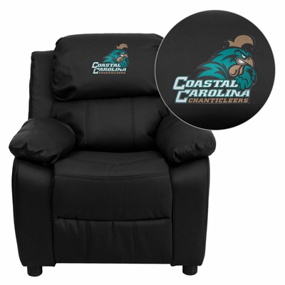 Coastal Carolina University Chanticleers Black Leather Kids Recliner - BT-7985-KID-BK-LEA-45007-EMB-GG