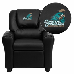 Coastal Carolina University Chanticleers Black Vinyl Kids Recliner - DG-ULT-KID-BK-45007-EMB-GG
