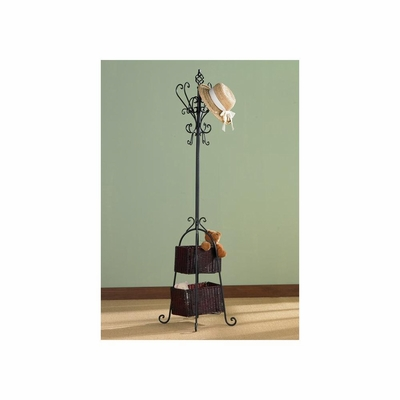 Coat Rack - Black Hall Tree with Rattan Storage - Holly and Martin