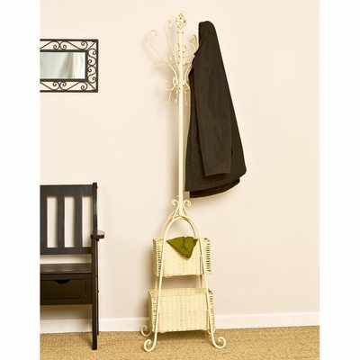 SEI Ivory Hall Tree with Rattan Storage