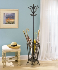 "Coat Rack with Umbrella Stand - Garden District ""Matte Black"" - Powell Furniture - 935-384"
