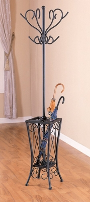 Coat Rack with Umbrella Stand in Sandy Black - Coaster