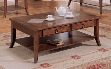 Coffee Table in Medium Oak - Coaster