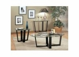 Coffee Table Set in Black Metal / Glass Top - Coaster
