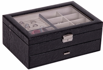 Colette Glass Top Locking Jewelry Box in Black Croco Faux Leather - 63662