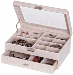 Colette Glass Top Locking Jewelry Box in Pearl Croco Faux Leather - 63610