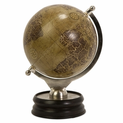 Colombo Large Globe With Nickel And Wood Base - IMAX - 73031