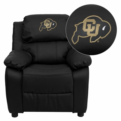 Colorado Buffaloes Embroidered Black Leather Kids Recliner - BT-7985-KID-BK-LEA-40030-EMB-GG