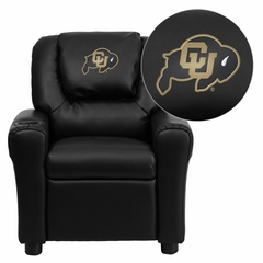 Colorado Buffaloes Embroidered Black Vinyl Kids Recliner - DG-ULT-KID-BK-40030-EMB-GG