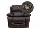 Colorado Buffaloes Embroidered Brown Leather Rocker Recliner  - MEN-DA3439-91-BRN-40030-EMB-GG