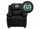 Colorado State University Rams Black Leather Kids Recliner - BT-7985-KID-BK-LEA-40011-EMB-GG