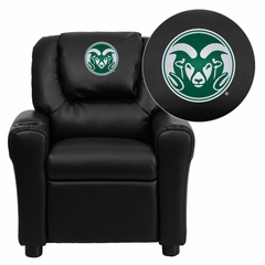 Colorado State University Rams Black Vinyl Kids Recliner - DG-ULT-KID-BK-40011-EMB-GG
