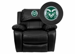 Colorado State University Rams Leather Rocker Recliner - MEN-DA3439-91-BK-40011-EMB-GG