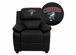 Columbus State University Cougar Black Leather Kids Recliner - BT-7985-KID-BK-LEA-41022-A-EMB-GG