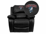 Columbus State University Cougar Leather Rocker Recliner  - MEN-DA3439-91-BK-41022-A-EMB-GG