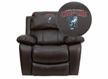 Columbus State University Cougar Leather Rocker Recliner  - MEN-DA3439-91-BRN-41022-A-EMB-GG