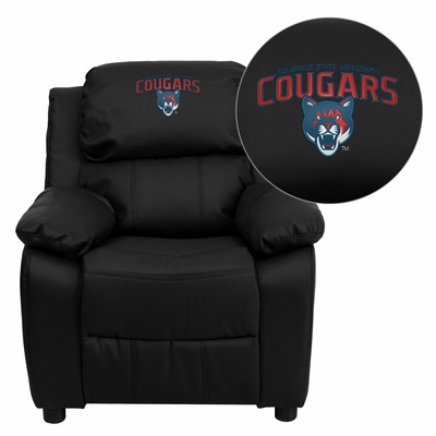 Columbus State University Cougars Black Leather Kids Recliner - BT-7985-KID-BK-LEA-41022-EMB-GG