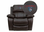 Columbus State University Cougars Embroidered Brown Leather Rocker Recliner  - MEN-DA3439-91-BRN-41022-EMB-GG
