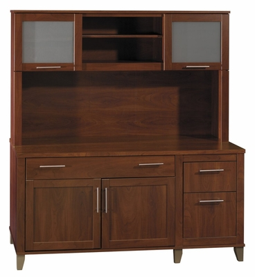 Computer Credenza and Hutch Set - Somerset Collection - Bush Office Furniture - WC81729-31
