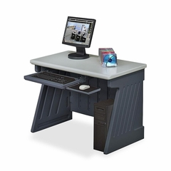 Computer Desk - Charcoal Gray Base/Silver Top - ICE72002