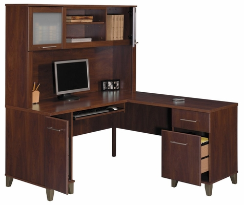 Computer Desk L Shape  60 inch and Hutch Set - Somerset Collection - Bush Office Furniture - WC81730-31