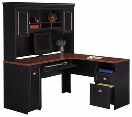 Computer Desk L Shape  and Hutch Set - Fairview Collection - Bush Office Furniture - FAIR-DH