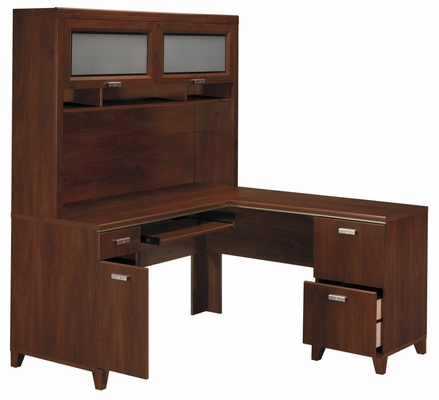 Computer Desk L Shape  and Hutch Set - Tuxedo Collection - Bush Office Furniture - TUX-DH-HC