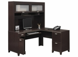 Computer Desk L Shape  and Hutch Set - Tuxedo Collection - Bush Office Furniture - TUX-DH-MC