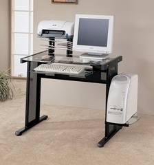 Computer Desk with CPU Tray in Black - Coaster