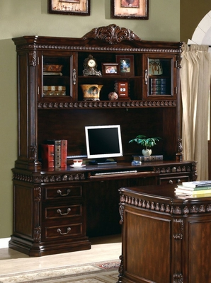 Computer Desk with Hutch in Rich Brown - Coaster