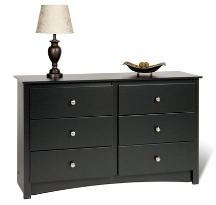 Condo/Youth Size 6 Drawer Dresser in Black - Sonoma Collection - Prepac Furniture - BDC-4829