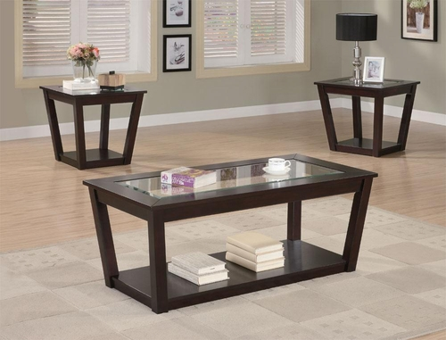 Contemporary 3 Piece Occasional Table Set with Glass Tops - 701506
