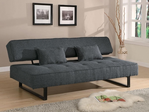Contemporary Armless Sofa Bed in Grey - 300137