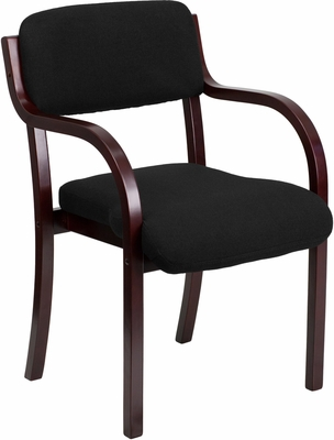 Contemporary Black Fabric Wood Side Chair - HL-025B-1-MAH-BK-GG