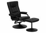 Contemporary Black Leather Recliner and Ottoman with Leather Wrapped Base - BT-7862-BK-GG
