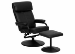 Contemporary Black Leather Recliner and Ottoman with Leather Wrapped Base - BT-7863-BK-GG