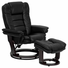 Contemporary Black Leather Recliner and Ottoman with Swiveling Mahogany Wood Base - BT-7818-BK-GG