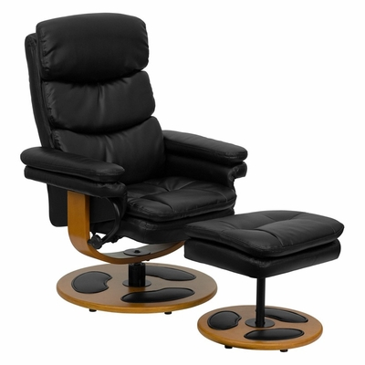 Contemporary Black Leather Recliner and Ottoman with Wood Base - BT-7828-PILLOW-GG