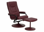 Contemporary Burgundy Leather Recliner and Ottoman with Leather Wrapped Base - BT-7862-BURG-GG