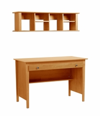Contemporary Computer Desk and Wall Hutch in Maple - Prepac Furniture - MWD-4730-K