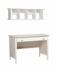 Contemporary Computer Desk and Wall Hutch in White - Prepac Furniture - WWD-4730-K
